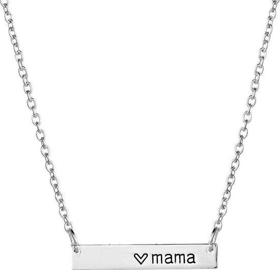 Verzilverde ketting Mama