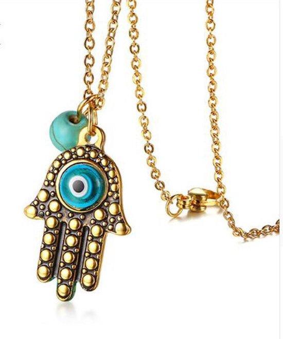 Hamsa hanger - goudkleurige ketting hand van Fatima