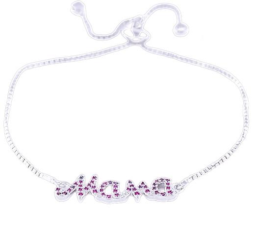 Mama armband  -roze zirkonia