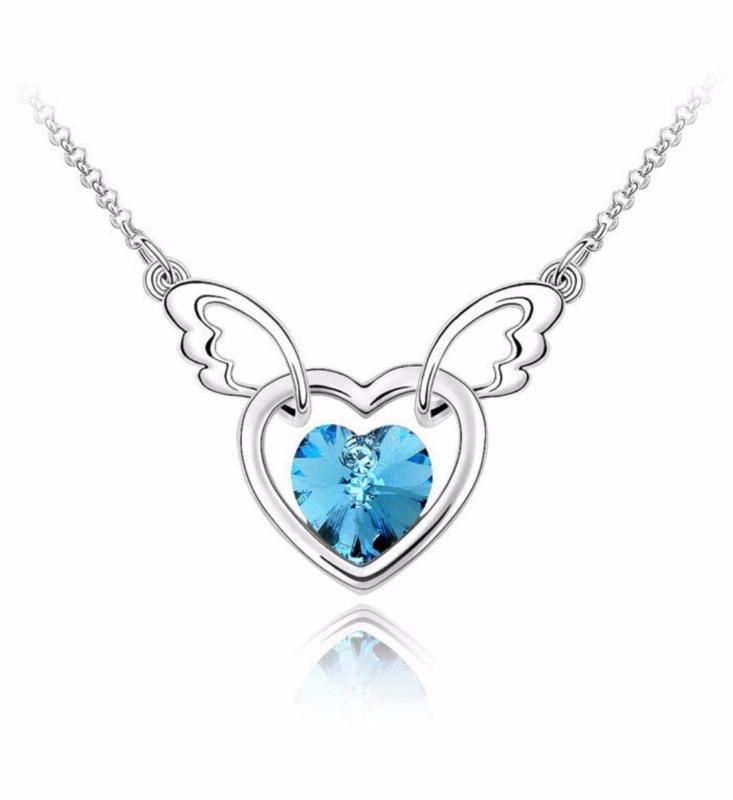 Ketting Angel wing blue - ketting met blauw Swarovski hartje