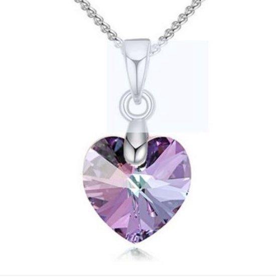 Ketting met Swarovski hartje violet - Swarovski elements - silverplated