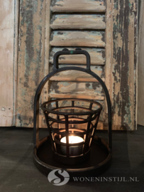 Waxinelichthouder draadmandje | Zwart