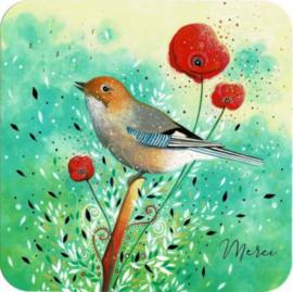 Postkaart   Merci met vogel   14x14