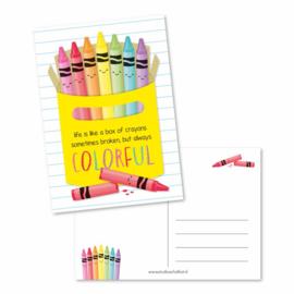 Postkaart | Life is like a box of crayons