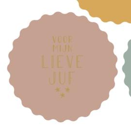 Stickers | Voor mijn lieve juf | Roze | 1x