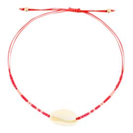 Armband | Rood met schelp