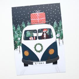 Postkaart   Kerst VW bus