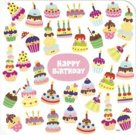 Postkaart | Happy birthday | Cake | 14x14