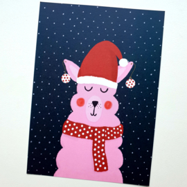 Postkaart   Roze kerst Alpaca