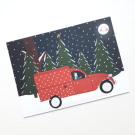 Postkaart   In m'n eendje in de sneeuw