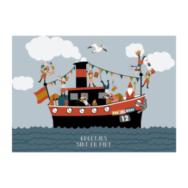 Postkaart | Groetjes Sint en Piet met boot