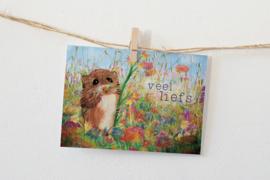 Postkaart | Veel liefs | Muis