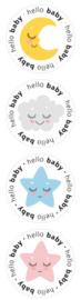 Stickers | Hello baby assorti | 4 stuks