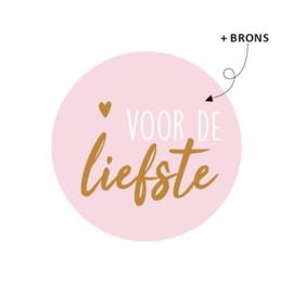 Stickers | Voor de liefste - roze met brons | 10 stuks
