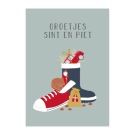 Postkaart | Groetjes Sint en Piet schoen