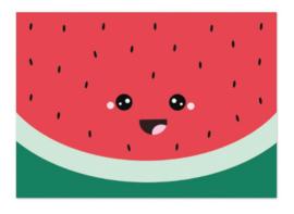 Postkaart   Watermeloen gezichtje