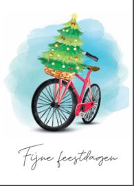 Postkaart | Fiets - Fijne feestdagen