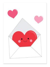 Postkaart   Envelop met hartjes