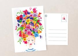 Postkaart | Bloemenmeisje zee