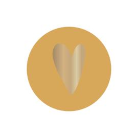 Stickers | Ronde stickers met hart | Geel | 5 stuks