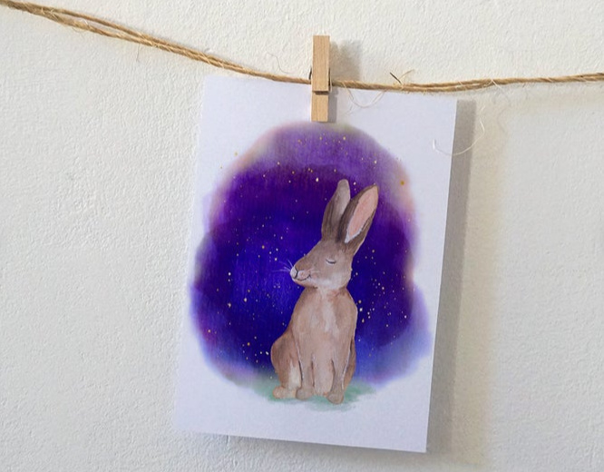 Postkaart | Sfeervolle kaart met konijn