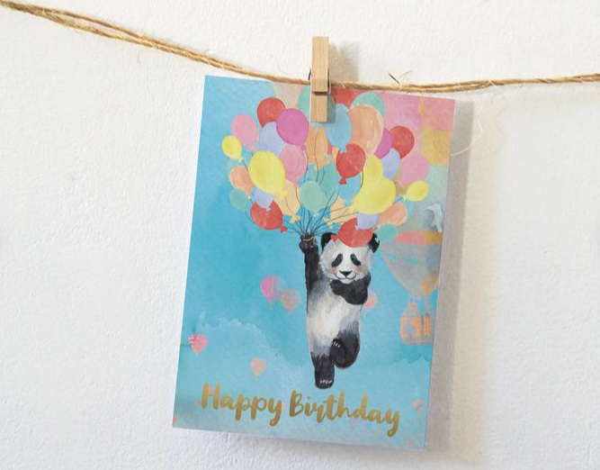 Postkaart | Happy Birthday panda