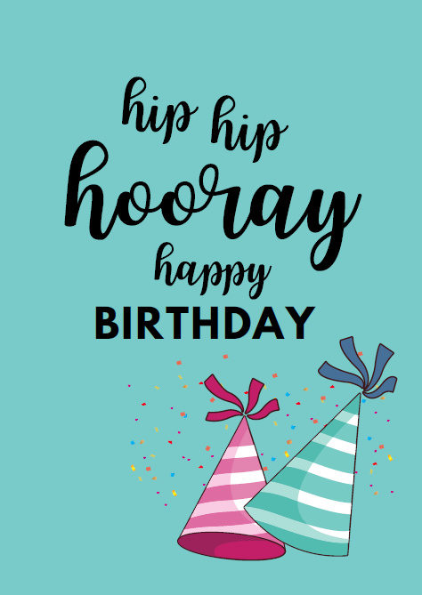 Postkaart   Hip hip Hooray - happy birthday