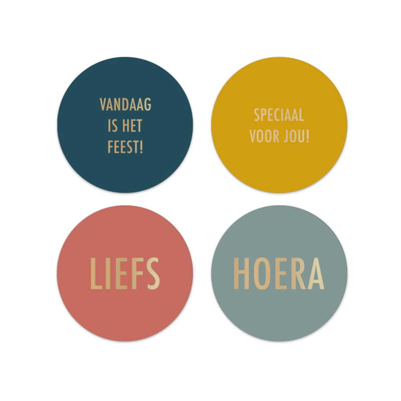 Stickers | Kleur met gouden tekst 4 stuks