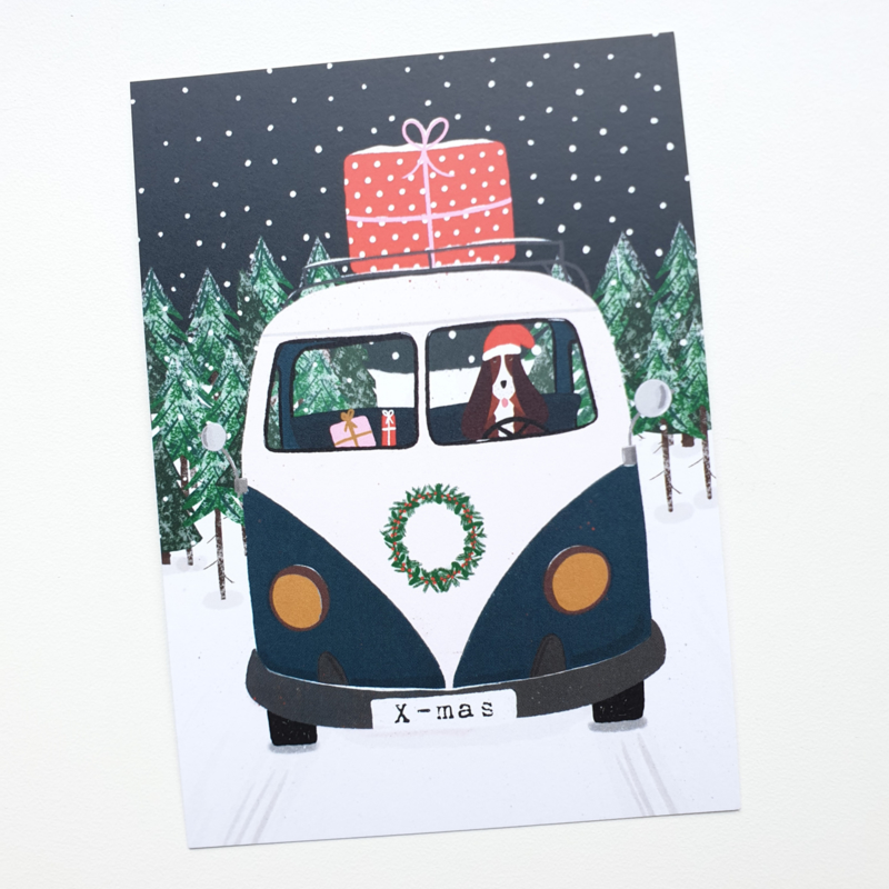 Postkaart | Kerst VW bus