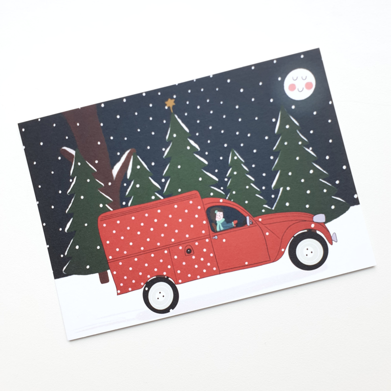 Postkaart | In m'n eendje in de sneeuw