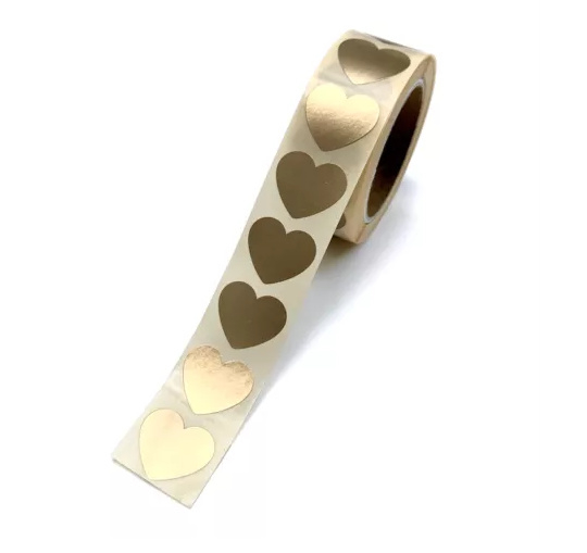 Stickers   Gouden hart 2,2 cm   Mini 5 stuks