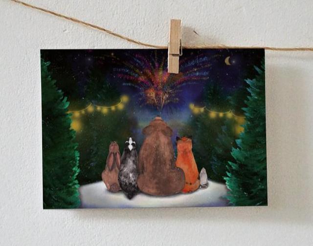 Postkaart | Winterkaart met bosdieren en vuurwerk
