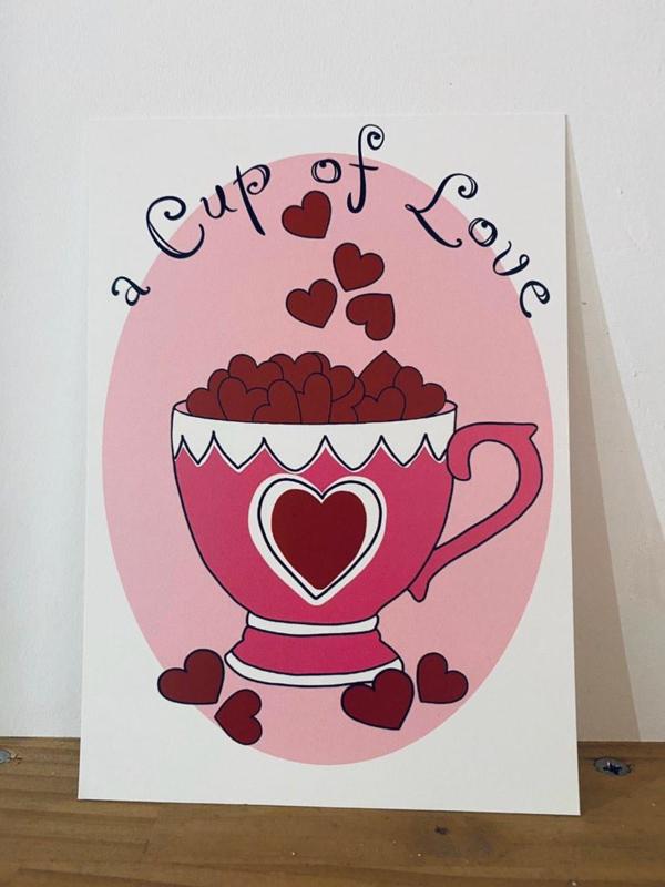 Postkaart   A cup of love