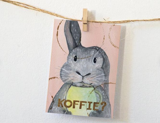 Postkaart | Konijn met koffie