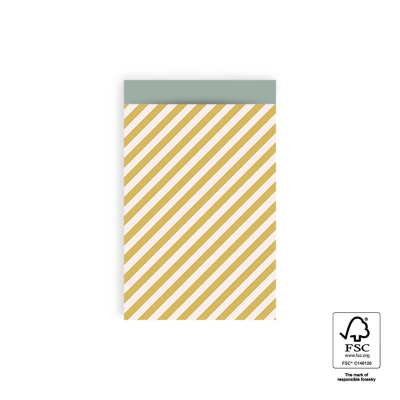 Cadeauzakje M   Diagonale strepen   Geel   5 stuks
