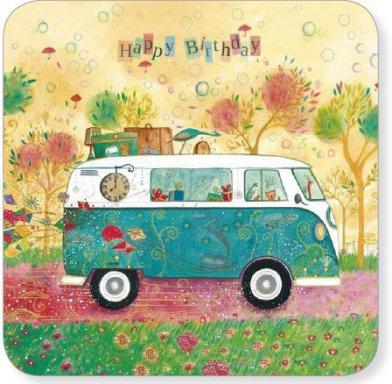 Postkaart  Happy birthday   Busje   14x14