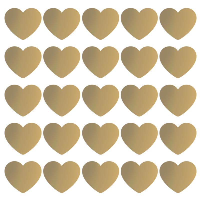Stickers | Gouden hart 5cm | 10 stuks