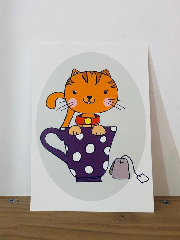 Postkaart | Kat in het bakkie