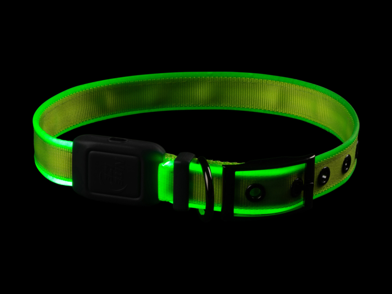 Night Dog Lichtgevende LED Honden Halsband Geel - Maat XL