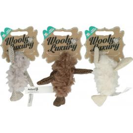 Wooly Luxury Vogel  grijs bruin wit