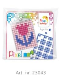 Pixel sleutelhanger set compleet - Tulp roze