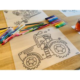 Herkleurbare placemat - Tractor - Pakketpost