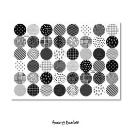 Cadeau stickervel A4 - zwart/wit motiefjes - Anne with the Bamboo