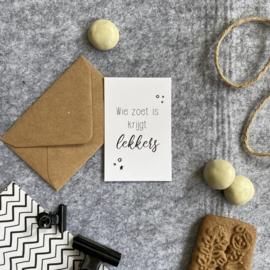 Mini kaartjes met kraft envelop- wie zoet is krijgt lekkers - 2 stuks - Studio Thoés