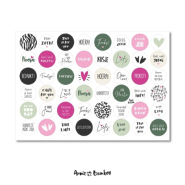 Cadeau stickervel A4 - Tekst Roze/Groen - Annie with the Bamboo