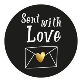 Send with Love 35mm zwart/wit - 10 stuks - Kado etiket