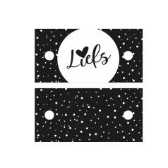 Kadolabel Liefs - 7x3.5cm - dubbelzijdig zwart/wit - 5 stuks