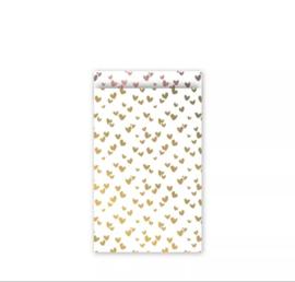 Cadeau zakjes Solo Hearts Goud/Rose - 12x19cm - 5 stuks