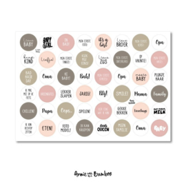 Cadeau stickervel A4 -  Baby Rose/wit - Annie with the Bamboo