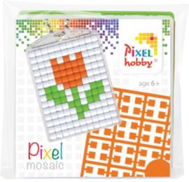 23007 Pixel sleutelhanger set compleet - Tulp oranje